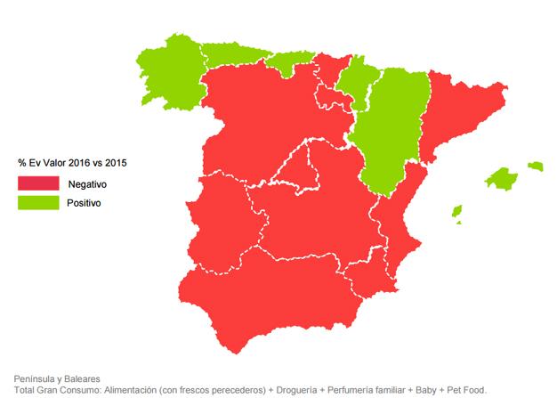 Asturias, Galicia, Aragón, Navarra y Cantabria, los bastiones del Gran Consumo en España