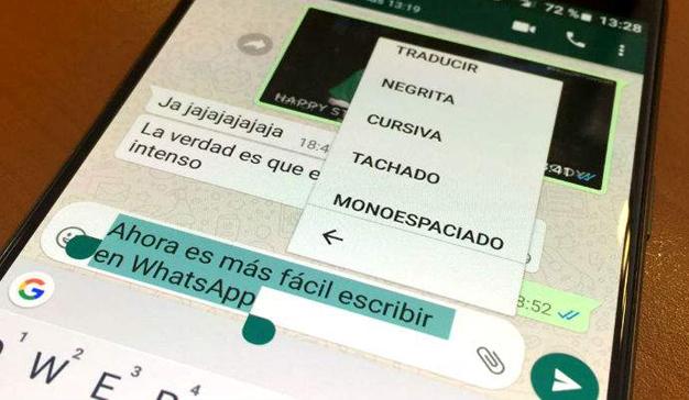 WhatsApp facilita las funciones de texto enriquecido a sus usuarios