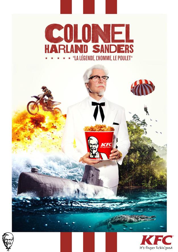 El Coronel Sanders de KFC se enfrenta a numerosos peligros para llegar a Francia