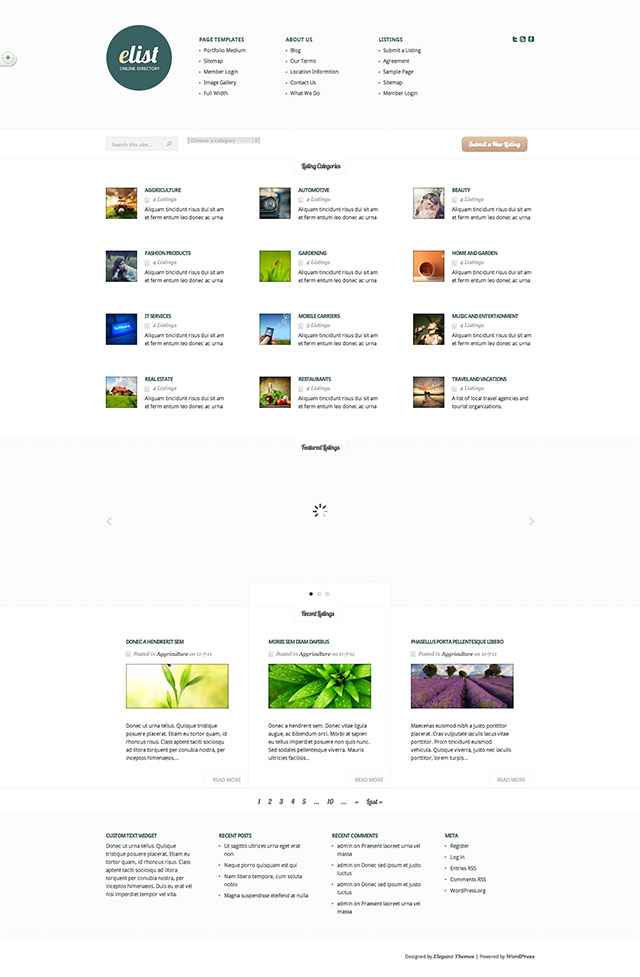 elist Directory Theme for WordPress free download