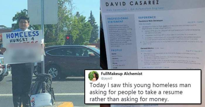 Homeless Guy Distributes Resume For Job, Gets Offers From Google ...