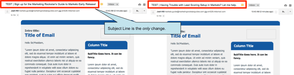 AB Email Test by Subject Line