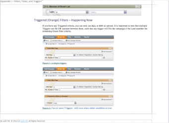 Marketo Filter and Trigger Reference Screenshot