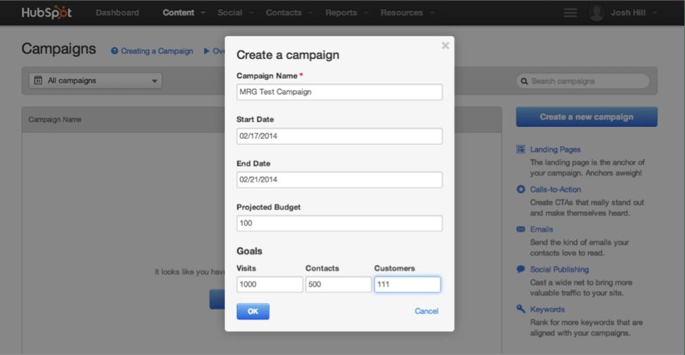 HubSpot Create a Campaign Dialog