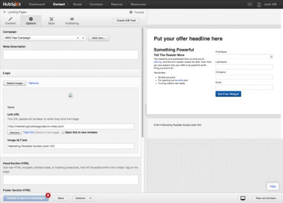 HubSpot Landing Page Editor