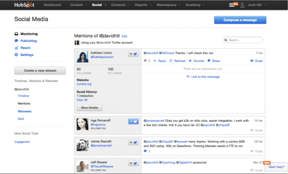 HubSpot Social Media Monitoring
