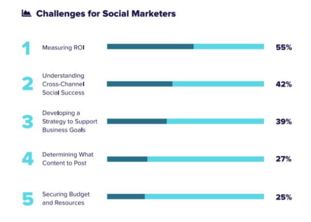 Chart from SproutSocial demonstrating that 55% of social marketers report measuring ROI as their greatest problem.