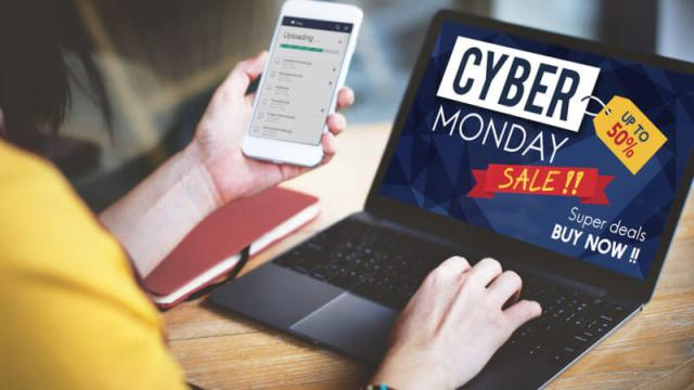 woman on laptop on cyber monday