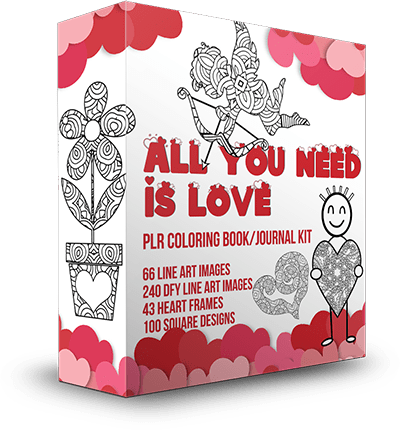 All You Need Is Love PLR Coloring Book Kit