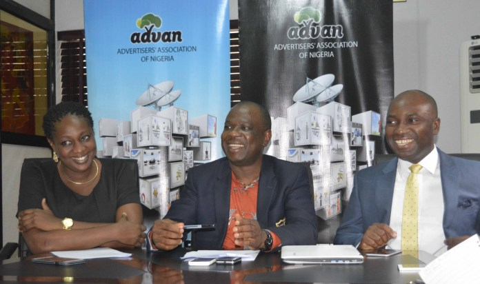 From Left: Ediri Ose-Ediale,  Executive Secretary, Advertisers Association of Nigeria (ADVAN), David Okeme, President of ADVAN and Sampson Oloche, ADVAN Publicity Secretary At the press briefing on ADVAN Marketers Conference 2016 held in Lagos on Tuesday 26/04/2016