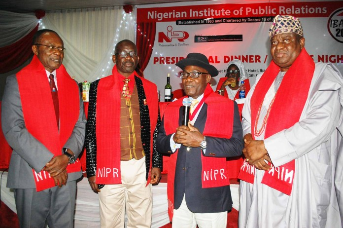 L-R: Chairman, Nigerian Institute of Public Relations (NIPR) Board of Fellows, Mr Frank Tamunokoko, President, NIPR, Dr Rotimi Oladele; representative of Aare Afe Babalola, Mr Ibukun Ogundipe and former Secretary-General of the Institute, Alh. Adetokunbo Fassy Yusuf at the NIPR Presidential Dinner held in Ibadan as part of the NIPR 2016 National Conference and AGM recently.