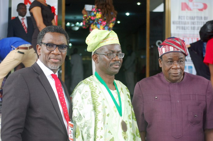 R-L: Deputy Governor, Oyo State, Chief Moses Alake Adeyemo; President, Nigerian Institute of Public Relations (NIPR), Dr Rotimi Oladele and Chairman, NIPR, Lagos Chapter, Mr Olusegun McMedal at the event