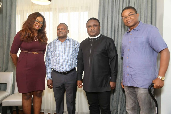 L-R: Mary Ephraim, MD, Okhma Global Ltd; Ken Anklah, Special Adviser- Events, Governor's Office; His Excellency, Professor Ben Ayade, Executive Governor of Cross River State and Mr Gabe Onah- Chairman, Cross River State Carnival Commission at a meeting held recently at Eko hotel & Suites, Lagos.