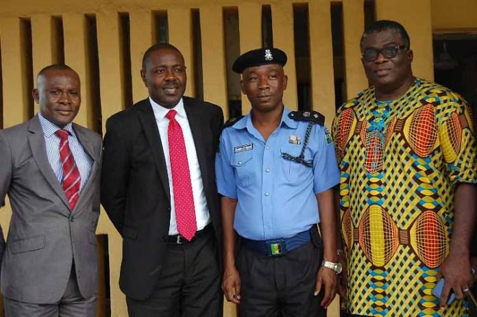 L-R:  ICOC Ikeja-Ketu/Mowe Men's Forum Committee Member, Mr. Desmond Ekeh,  Chairman of the Forum, Mr. Uwamai Igein, DPO Alausa Police Station, Gbolahan Olugbemi and the Evangelist Ikeja-Ketu/Mowe Region of International Church of Christ, Mr. Emeka Okechukwu at the donation of laptops and printer to Alausa Police Station as part of Ikeja-Ketu/Mowe Men's Forum CSR initiative in Lagos Today.