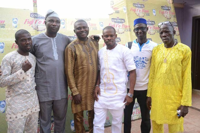 (L-R) Alhaji Wasiu Kosegbe (a.k.a Wase G), a contestant; Alhaji Sikiru Agboola (a.k.a SK Sensation), Chairman, Panel of Judges; Adekunle Abolade (a.k.a Dodo Ede), Panel member; Alimi Fatai (a.k.a Jambele), a contestant; Salam Wasiu (a.k.a Sir Yerima), an Agricultural Engineer and a contestant; and Alhaji Isiaka Ayinde (a.ka.a Fine Kabaka), member Panel; at the Goldberg Fuji t'o Bam audition held at Egbeda, Lagos