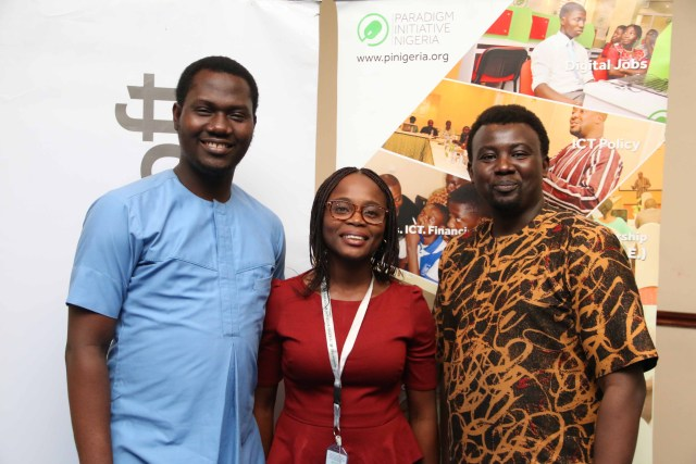 L-R: Citizenship Lead, Microsoft Nigeria, Olusola Amusan, Digital Media Manager, Paradigm Initiative Nigeria, Olamide Egbayelo and Executive Director, Paradigm Initiative Nigeria, Gbenga Sesan during the Microsoft Nigeria Tech4Good event held today at the Sheraton Hotels, Ikeja, Lagos.
