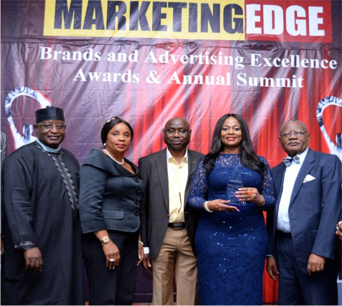 "L- R:  Bello Garba Kankaraofi, Chairman, Advertising Practitioners' Council of Nigeria (APCON); Dorothy Udeme Ufot, SAN, Founding Partner, Dorothy Ufot & Co; John Ajayi, Publisher/ CEO, Marketing Edge; Chizor Malize, Managing Partner/ CEO, Brandzone Consulting LLC and recipient ""Brand & Marketing Personality of the Year Award"" and Sir Steve Omojafor, Chairman, McCann Group at the Marketing Edge Brand and Advertising Excellence Awards which held in Lagos recently."