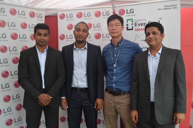 L-R: Product Marketing Manager, Home Appliances division, LG Electronics West Africa operations, Mr. Nishant Kawoor; Product Trainer, LG Electronics West Africa operations, Mr. Moses Osime; Assistant Marketing Manager, Home Appliances division, LG Electronics West Africa operations, Mr. Choon Hung Har; and General Manager, Corporate Marketing, LG Electronics West Africa Operations, Mr. Rajesh Agnihotri, during LG Evercool Smart Inverter Refrigerator Launch, in Lagos