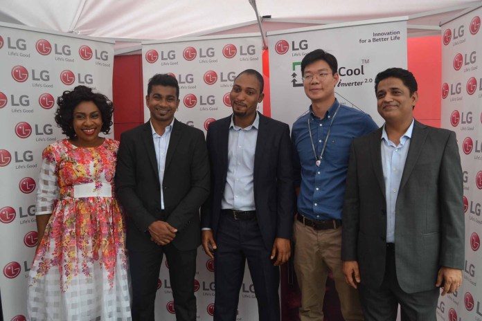 L-R: Marketing Assistant, Home Appliances division, LG Electronics West Africa operations, Mrs Blessing Obiesie; Product Marketing Manager, Home Appliances division, LG Electronics West Africa operations, Mr. Nishant Kawoor; Product Trainer, LG Electronics West Africa operations, Mr. Moses Osime; Assistant Marketing Manager, Home Appliances division, LG Electronics West Africa operations, Mr. Choon Hung Har; and General Manager, Corporate Marketing, LG Electronics West Africa Operations, Mr. Rajesh Agnihotri, during LG Evercool Smart Inverter Refrigerator Launch, in Lagos.