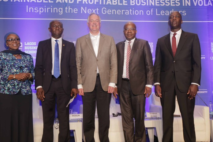 L-R: Chairperson, Access Bank Plc, Mrs. Mosun Belo-Olusoga; Commissioner for Energy and Mineral Resources Lagos, Mr. Wale Oluwo; Unilever Global CEO, Mr. Paul Polman; Chairman, Julius Berger Nigeria Plc, Mr. Mutiu Sunmonu and Managing Director, Unilever Nigeria Plc, Mr. Yaw Nsarkoh during an interactive session with Paul Polman, Global CEO, Unilever Plc, tagged: Building Sustainable and Profitable Businesses in Volatile Times.