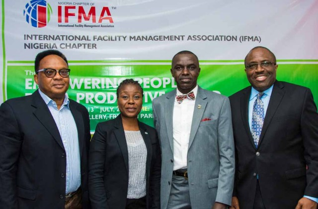 L-R: Guest Speaker, Hubert Eke; Executive Secretary, International Facility Management Association (IFMA) Nigeria Chapter, Bamidele Chinedu; President, Richard Okesola and CEO Corporate Shepherd Limited and Chairman of the Occassion, Idorenyen Enang at the 2016 World Facility Management Day celebration in Lagos.