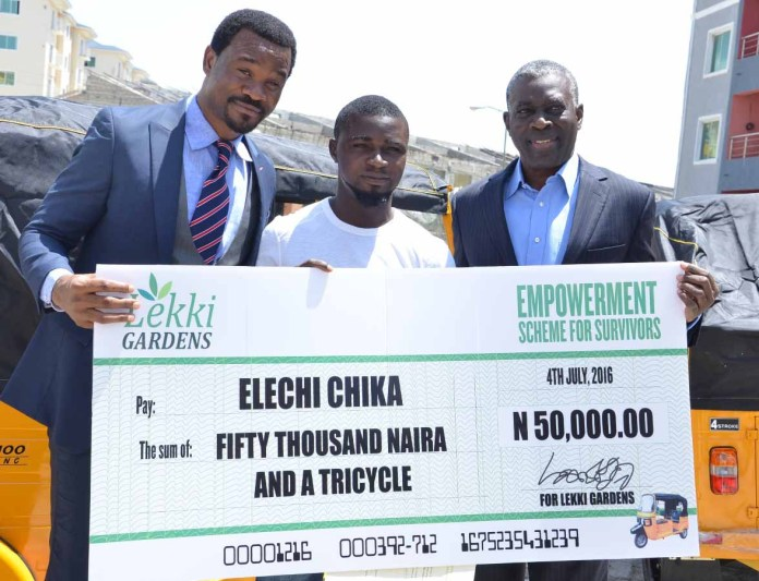 L-R: Mr. Richard Nyong, MD/CEO, Lekki Gardens Limited, Elechi Chika, Survivor and Mr. Arobo Kalango, Board Chairman, Lekki Gardens Limited at the presentation of Empowerment Support to survivors of the building collapse which took place at the company's office, Lekki, Lagos recently.