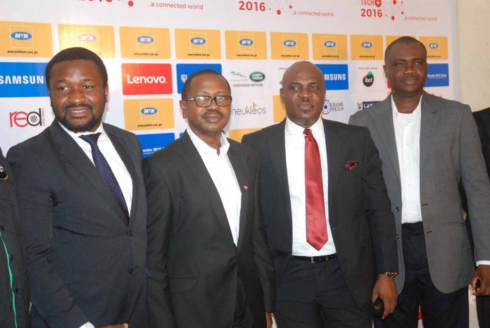 L-R: Programme Director, Techplus 2016, Gbonju Akingbade(left); Managing Director, Connect Marketing, Tunji Adeyinka; General Manager, Marketing, Coscharis, Abiona Babatunde; and General Manager, Consumer Marketing, MTN, Nigeria, Richard  Iweanoge at the Techplus exhibition  2016 press conference in Lagos.