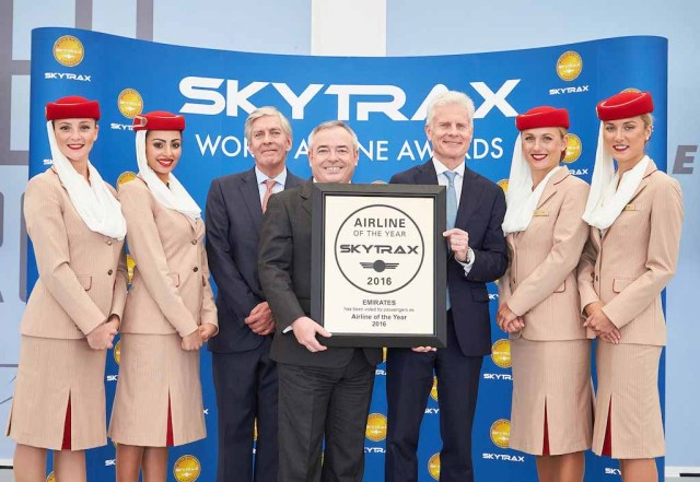 Patrick Brannelly Divisional Vice President, Customer Experience receiving the award from Edward Plaisted, CEO of Skytrax. Emirates is today named the World's Best Airline 2016 at the prestigious Skytrax World Airline Awards 2016. Also pictured on the left is Lord Deighton, Non-Executive Chairman of Heathrow Airport.