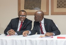 Emeke Iweriebor, Regional CEO, East and Southern Africa, UBA Plc and MD-CEO, UBA Kenya Limited, Isaac Mwige at the Press Conference organised by the Bank in Nairobi today, May 17, 2018-marketingspace.com.ng