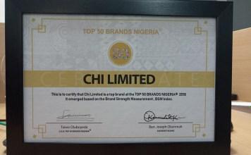 CHI Limited Bags Top 50 Brands Nigeria Award-marketingspace.com.ng