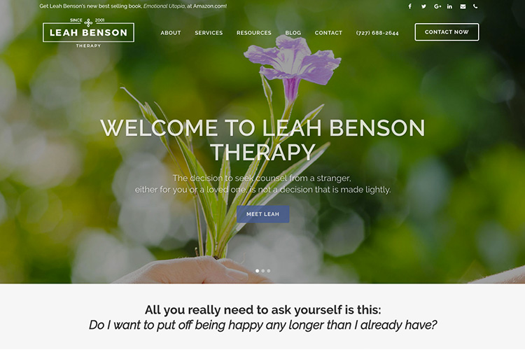 Leah Benson Therapy Website Design by Trio Marketing