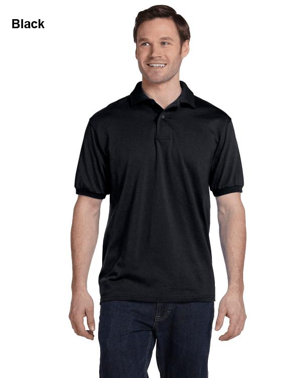 Hanes Adult 5.2 oz., 50/50 EcoSmart Jersey Knit Polo Shirt Black