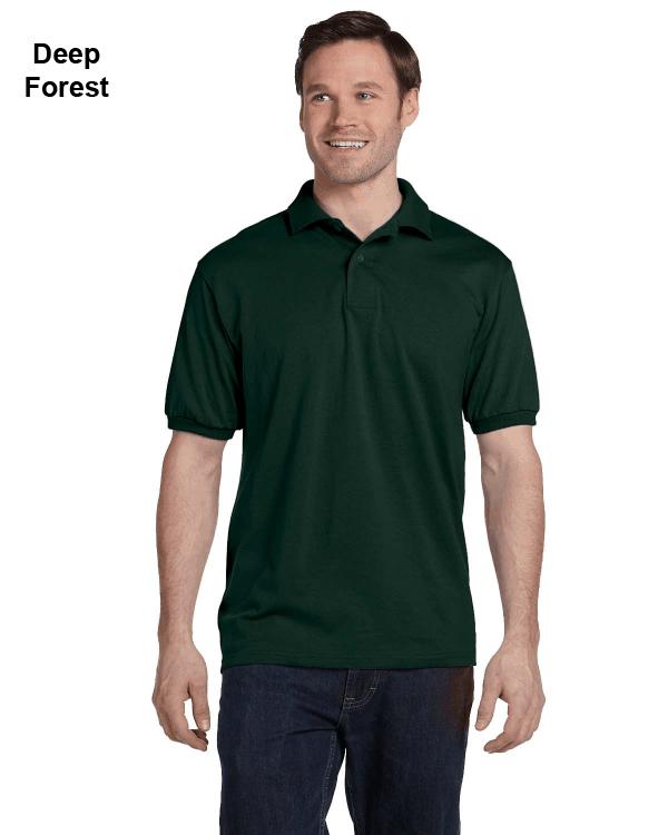 Hanes Adult 5.2 oz., 50/50 EcoSmart Jersey Knit Polo Shirt Deep Forest