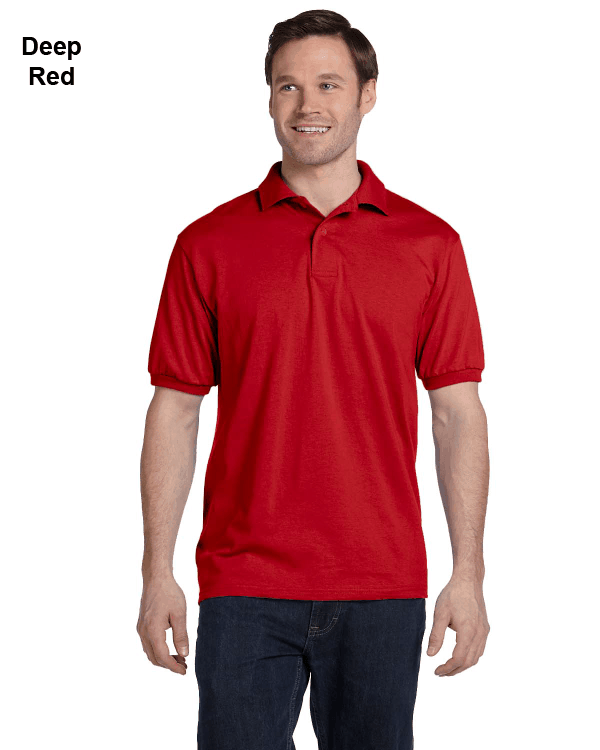 Hanes Adult 5.2 oz., 50/50 EcoSmart Jersey Knit Polo Shirt Deep Red