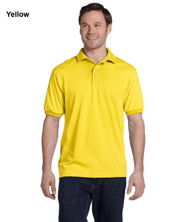 Hanes Adult 5.2 oz., 50/50 EcoSmart Jersey Knit Polo Shirt Yellow