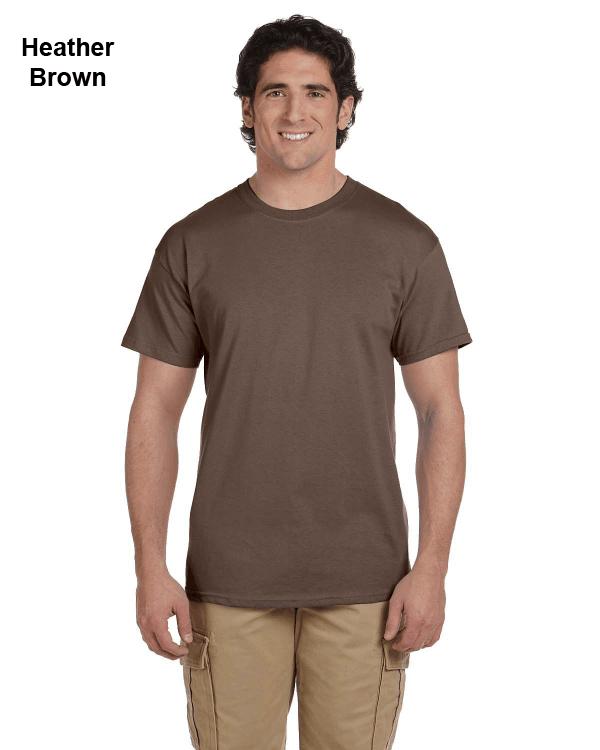 Hanes Adult 5.2 oz., 50/50 EcoSmart® T-Shirt Heather Brown