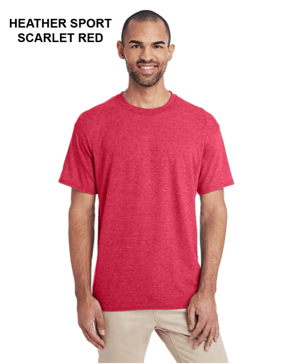 Gildan Adult 5.5 oz., 50/50 T-Shirt Heather Sport Scarlet Red