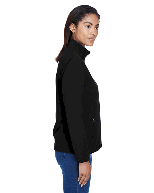 Team 365 Ladies Leader Soft Shell Jacket Black Side