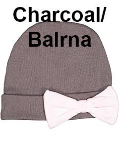 Rabbit Skins Infant Baby Rib Bow Cap Charcoal/Balrna