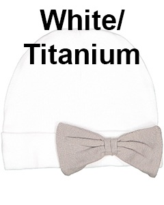 Rabbit Skins Infant Baby Rib Bow Cap White/Titanium