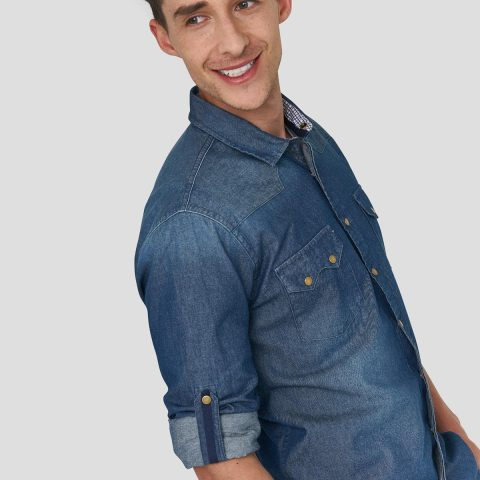 CAMISA CASUAL DENIM SLIM FIT PARA HOMBRE