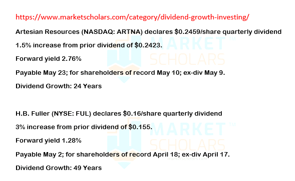 Dividend Growth Investing – Increases for 04/04/19 via @https://www.pinterest.com/market_scholars