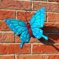 BUTTERFLY LARGE NEW BLUE METAL BUTTERFLIES WALL ART ...
