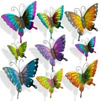 BUTTERFLIES GARDEN DECORATION MULTI COLOURED METAL OUTDOOR ...