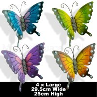 BUTTERFLIES X 4 COLOURED OUTDOOR LARGE METAL BUTTERFLY ...