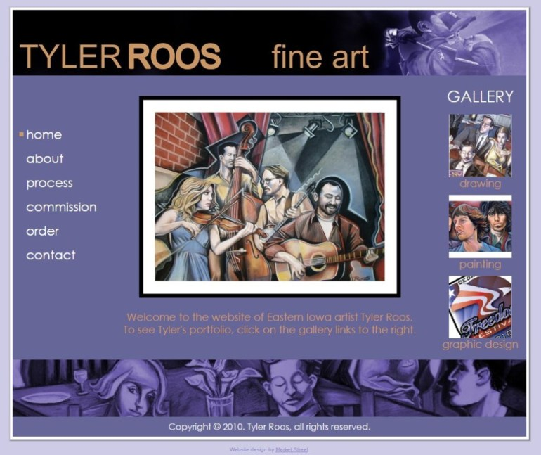 screen capture of TylerRoosArt.com's Homepage