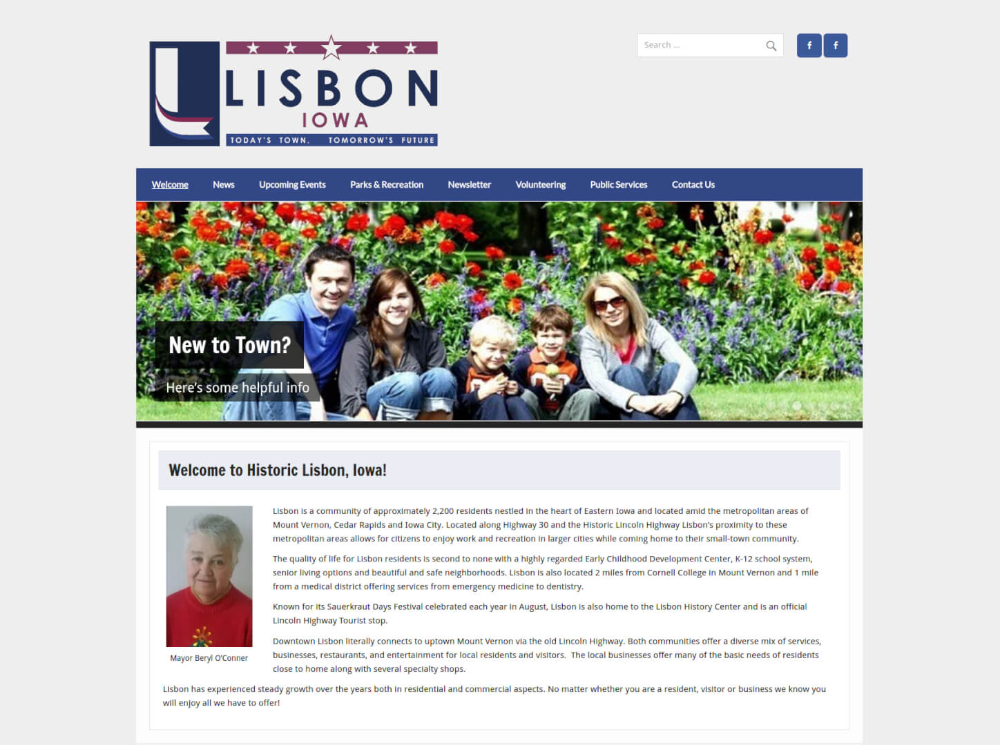 screenshot of the LisbonLife.net Frontpage top section