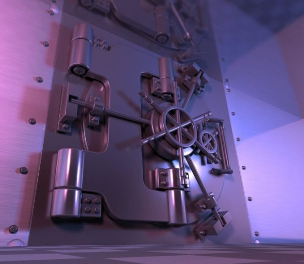 picture of a closed bank vault door