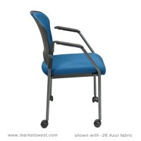 Rolling Stackable Visitors Chair with Upholstered Back
