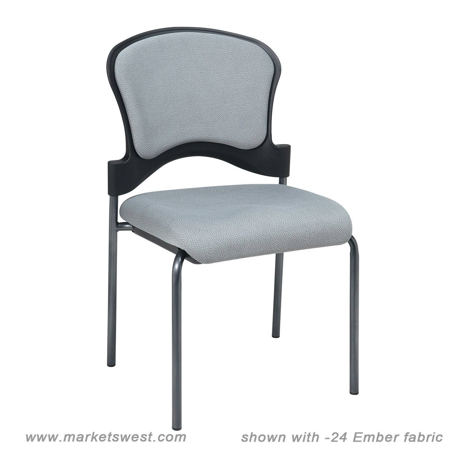 armless folding chair grey fabric office uk upholstered contoured back visitors with